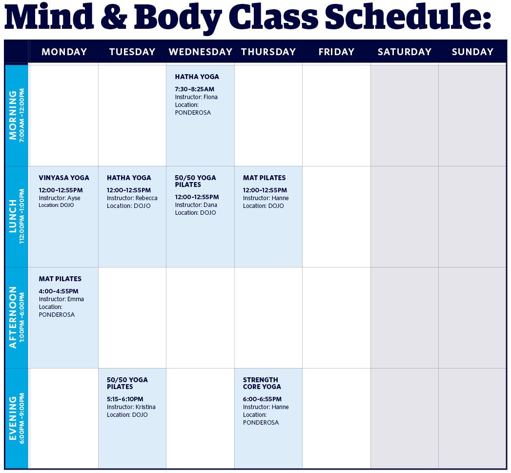 Mind Body UBC Recreation Schedule