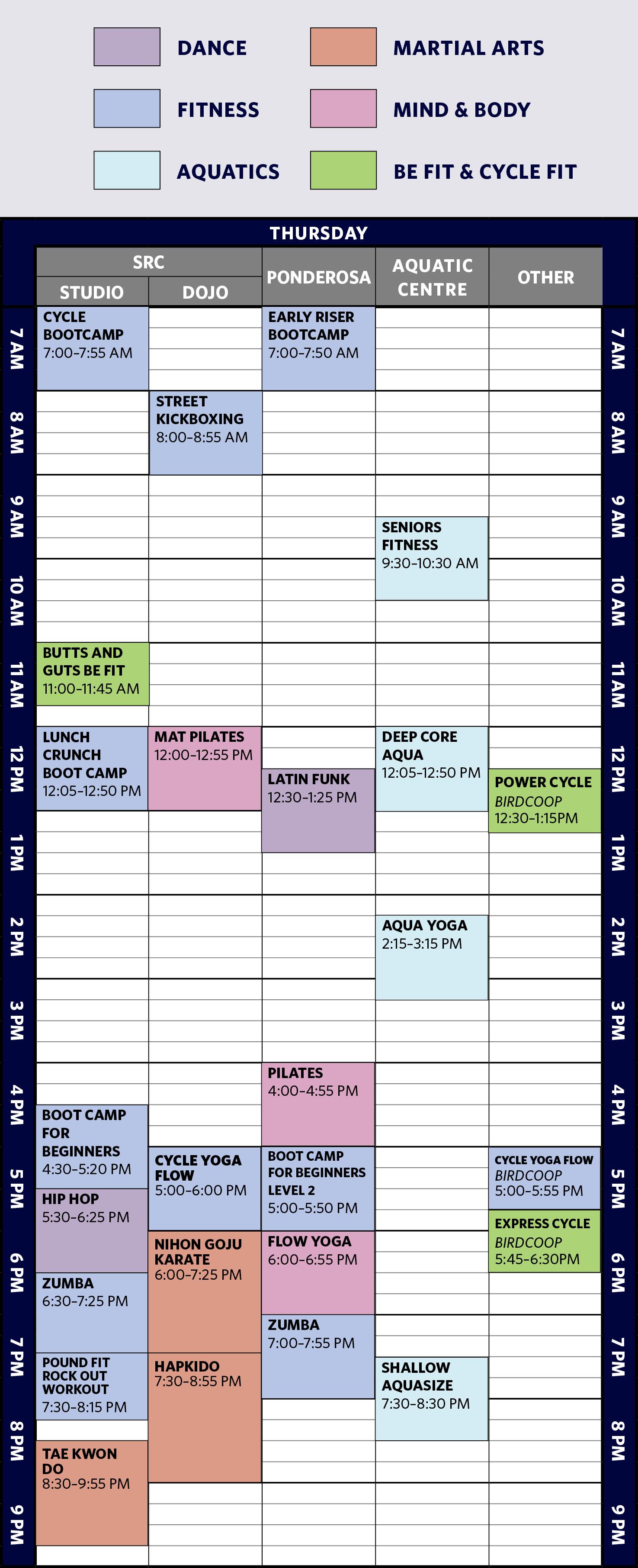 Free Week UBC 2018 Winter Thursday Schedule